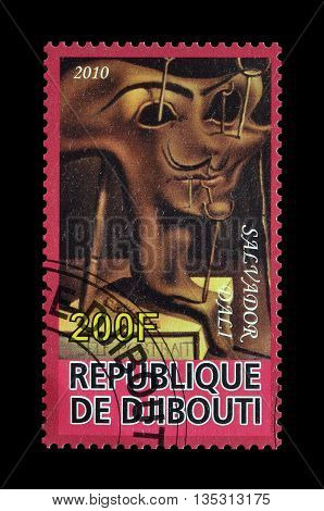 DJIBOUTI - CIRCA 2010 : Cancelled postage stamp printed by Djibouti, that shows painting by Salvador Dali.