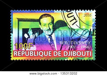 DJIBOUTI - CIRCA 2010 : Cancelled postage stamp printed by Djibouti, that shows portrait of Walt.