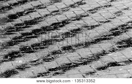 Abstract Repeated Pattern in Water on Tiled Driveway - Black and White
