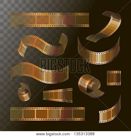 Camera film roll gold color, 35 mm, festival movie icons, Slide films frame vector illustration