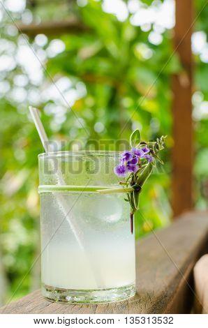 Cold fresh lemon juice on the wood rail. Selective Focus.