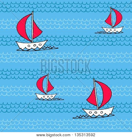 Seamless pattern with waves and sailboats. Vector background.