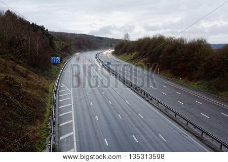England's M5 Motorway on a Quiet, Wet Day
