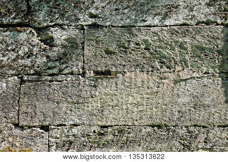 texture of the walls. famous Pudost stone silvia park in Gatchina. 17th century