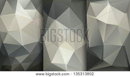 Three grey vector backgrounds with geometric shapes. Triangle mosaic background. Polygonal design.