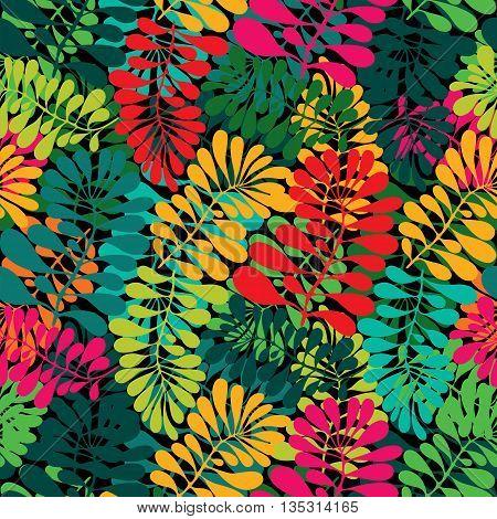 Leaves tropic seamless vector pattern. Summer pattern
