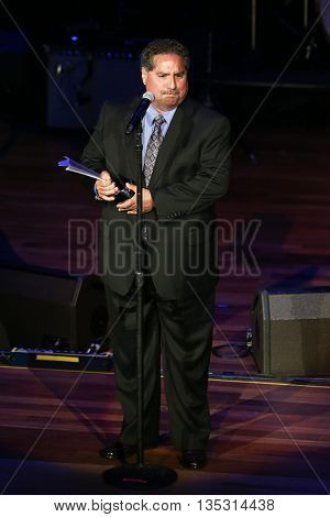 NASHVILLE, TN-SEP 1: Michael Rojas accepts the Piano/Keyboards Player of the Year award during the 9th Annual ACM Honors at the Ryman Auditorium on September 1, 2015 in Nashville, Tennessee.