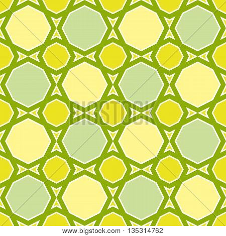 Green and Yellow Seamless Geometric Mosaic Pattern