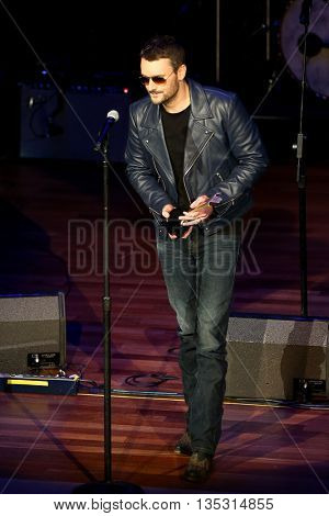 NASHVILLE, TN-SEP 1: Eric Church accepts the Jim Reeves International award during the 9th Annual ACM Honors at the Ryman Auditorium on September 1, 2015 in Nashville, Tennessee.