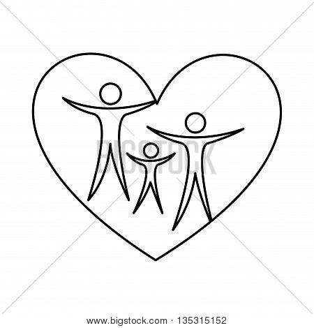 Family healthy heart isolated icon design, vector illustration  graphic