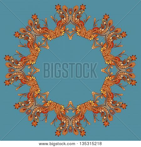 Card with colored circular floral ornament. Round pattern mandala in autumn style. Circular pattern with flowers and leaves. Floral round pattern for the greeting card or invitation template frame design for card vector illustration