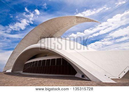 Santa Cruz de Tenerife, Spain, 24 May: Auditorio de Tenerife in Santa Cruz de Tenerife, Spain. Futuristic building designed by Santiago Calatrava shot on 24th of May, 2011