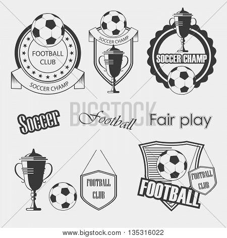 Set of soccer football crests and emblem designs