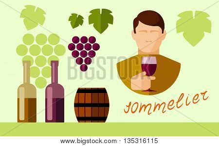 flat vector set of icons of winery accessories