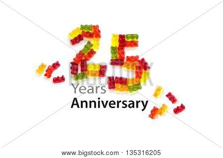 25 made from colorful gummy bears isolated with small shadows on a white background and sample text Years Anniversary