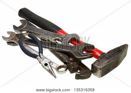 Adjustable wrenches spanners on white background with Clipping Path