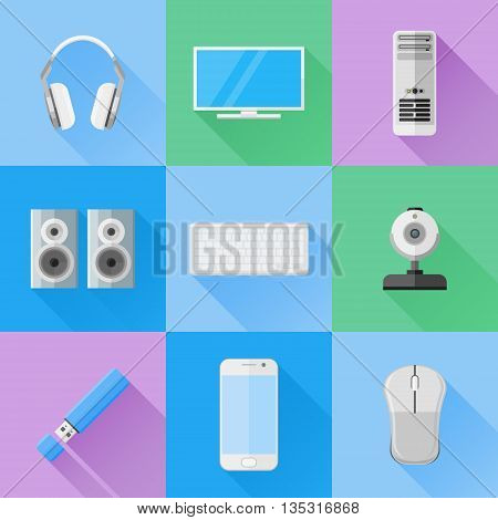 Set of computer devices flat icons. Computer monitor, keyboard, mouse, case, webcam, flash drive, headphones, speakers and mobile phone. Vector illustration.