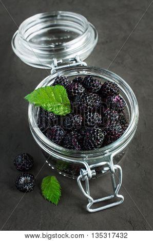 Black Raspberries In A Glass Jar