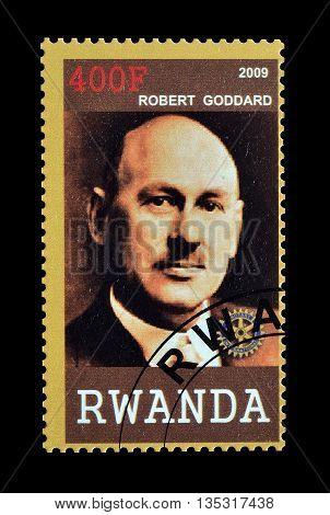 RWANDA - CIRCA 2009 : Cancelled postage stamp printed by Rwanda, that shows Robert Goddard.