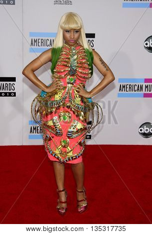 Nicki Minaj at the 2010 American Music Awards held at the Nokia Theatre L.A. Live in Los Angeles, USA on November 21, 2010.