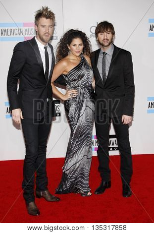 Hillary Scott, Charles Kelley and Dave Haywood of Lady Antebellum at the 2010 American Music Awards held at the Nokia Theatre L.A. Live in Los Angeles, USA on November 21, 2010.