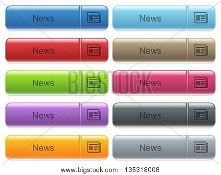 Set of news glossy color captioned menu buttons with engraved icons