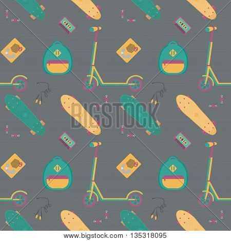 Seamless pattern with push scooter, cassette player with tape, headphones, batteries and plastic skateboards. Sports and fun. Vector illustration.