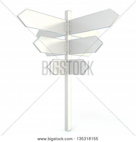 Blank white signpost. 3D render illustration isolated on white background