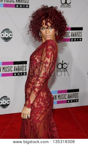 Rihanna at the 2010 American Music Awards held at the Nokia Theatre L.A. Live in Los Angeles, USA on November 21, 2010.