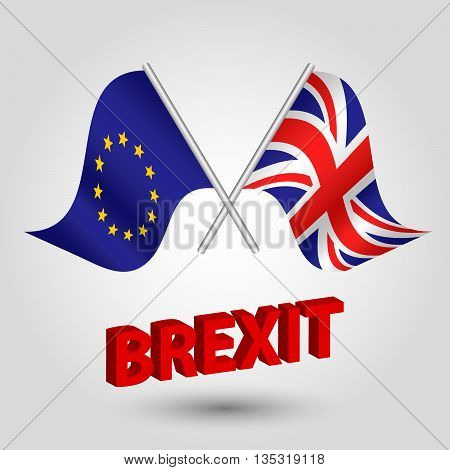 vector symbol of brexit - crossed flags of european union and united kingdom - EU and UK