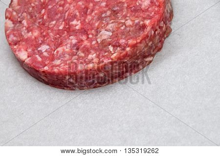 Raw Meat Burger, Hamburger On White Parchment