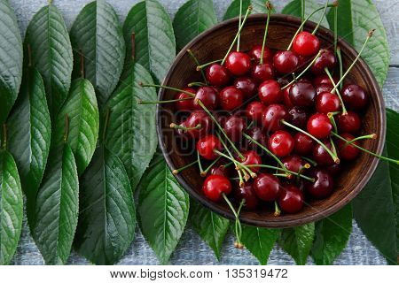 Sweet fresh cherries in a bowl with green leaves on blue rustic wood. Cherry fruit backround. Garden fresh organic cherries at wooden table closeup, top view. Food background.