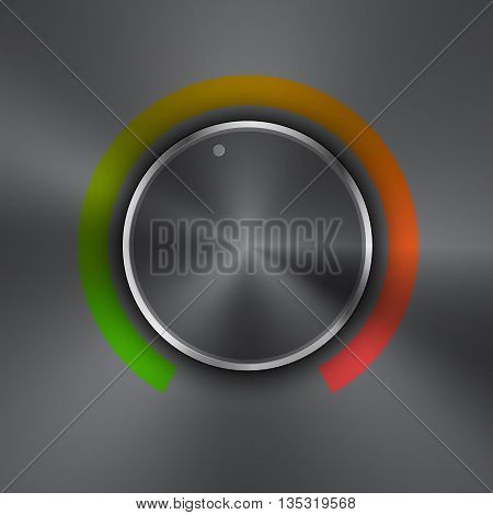 Volume button (music knob) with metal texture (steel chrome) green to red lights scale and dark background. Volume button from 0 to 100 colorful scale. Vector illustration.