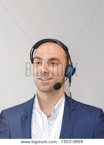 Smiley Businessman With Voice Technology Workflow Headset