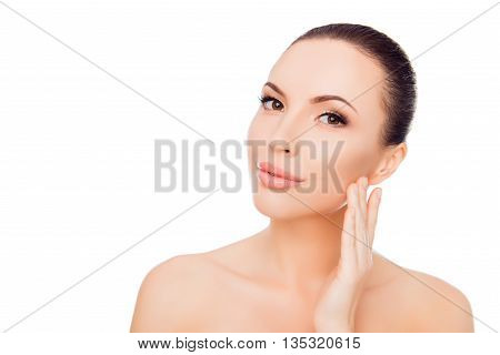 Attractive Young Woman Applying Cream For Skin On Her Face