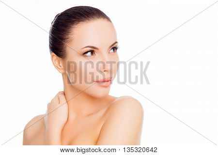 Calm Pretty Woman Touching Her Neck On White Background