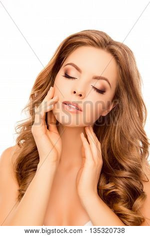 Sensual Beautiful Relaxed Woman With Clossed Eyes Touching Her Skin