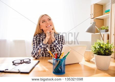 Attractive Happy Businesswoman Having Rest And Dreaming