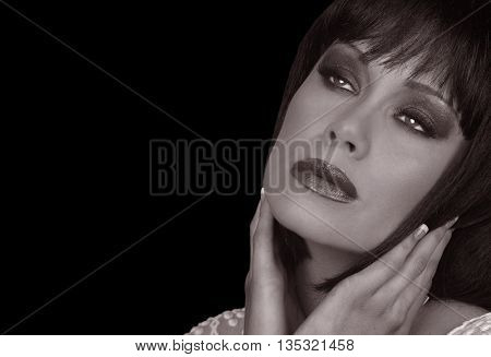 Image of a Beautiful Dreamy Glamour Model On Black