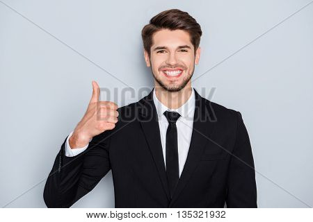 Cheerful Successful Happy Businessman Showing Thumb Up