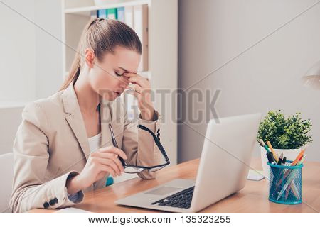 Tired Sad Woman Having Problem Because Of Failing Task