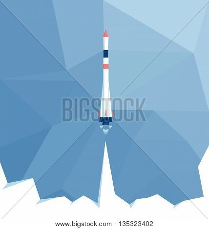 The launch of the carrier rocket on a polygon background space ship launch in the background polygon sky low poly vector illustration