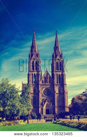 Medieval Kostel sv. Ludmily - Church of St. Ludmila - in Prague, Czech republic, travel outdoor vintage hipster instagram european religious image