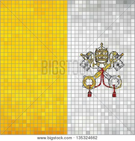 Mosaic flag of Vatican City - Illustration,  Flag of the Holy See in mosaic, Flag of the Papal States,  Abstract grunge mosaic vector