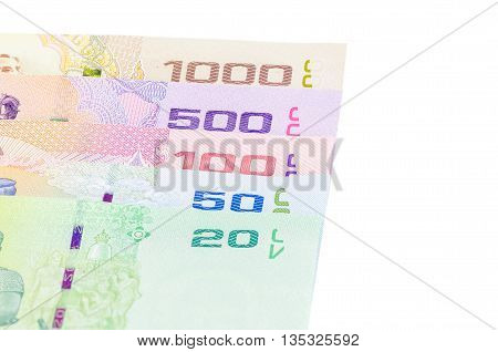 All Types of Thai baht money isolated white background