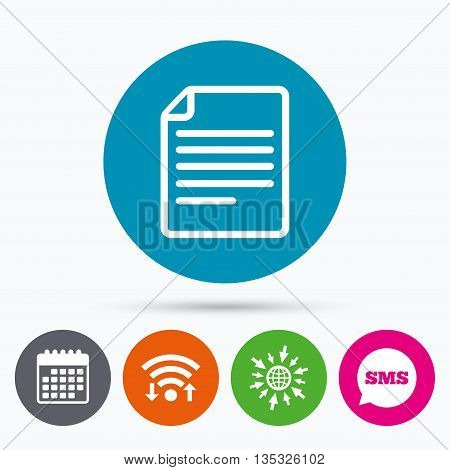 Wifi, Sms and calendar icons. File document icon. Download doc button. Doc file symbol. Go to web globe.