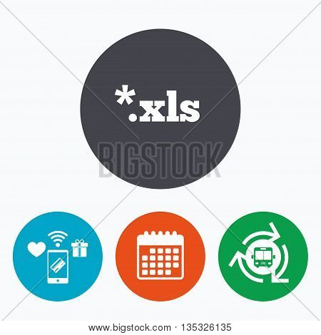 Excel file document icon. Download xls button. XLS file extension symbol. Mobile payments, calendar and wifi icons. Bus shuttle.