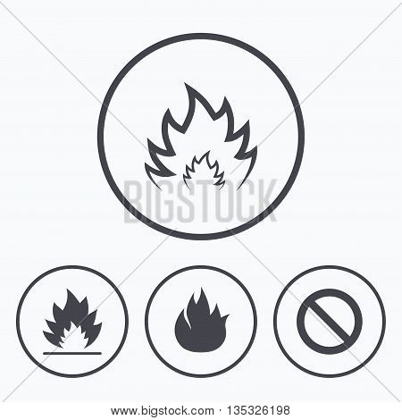 Fire flame icons. Prohibition stop sign symbol. Icons in circles.