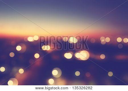 Blurred Cityscape Background Scene At Dusk
