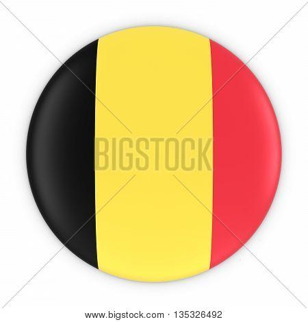 Belgian Flag Button - Flag Of Belgium Badge 3D Illustration